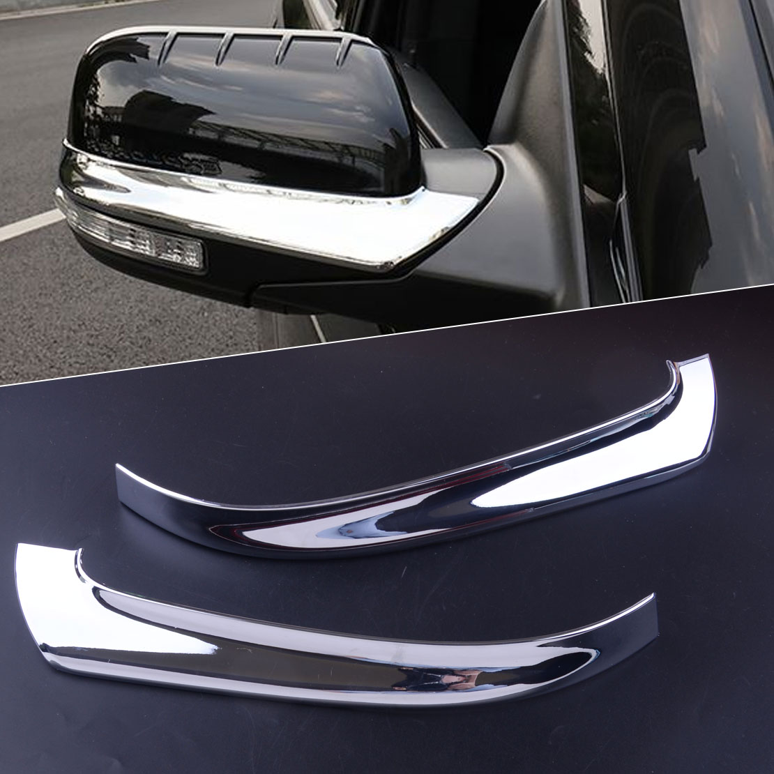 CITALL 2pcs Silver ABS Left Right Chrome Plated Rearview Side <font><b>Mirror</b></font> Strip Trim Cover Fit For <font><b>Ford</b></font> <font><b>Explorer</b></font> 2016 2017 2018 2019 image