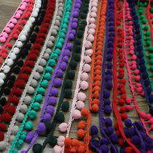 2 Yards 18 Colors pompom trim 20mm(pom size 10mm)ball Ribbon Trim Bobble Braid Christmas decoration fringe sewing cotton lace