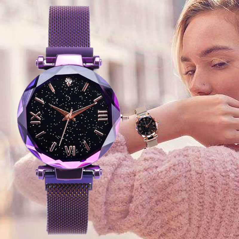 Fashion Ladies Watch Women Luxury Wrist Watches Rose Gold Purple Magnet Clasp Adjusting Strap Beautiful Elegant Women's Clock