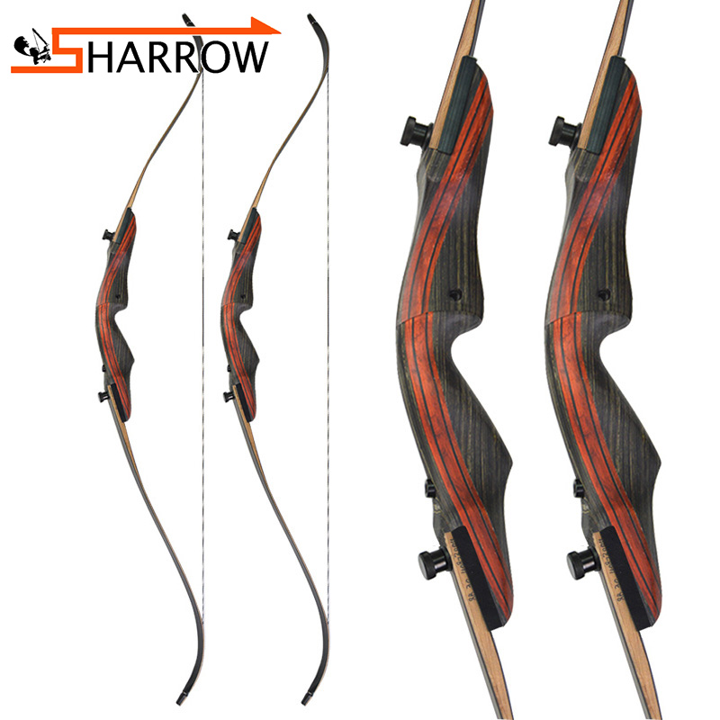 62inch Archery 20 50lbs American Black Hunter Recurve Bow 17inch Bow Riser Imported Composite Maple Chips