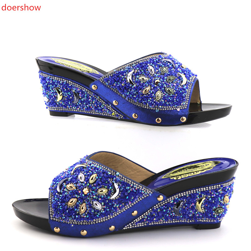 doershow Italian Women Sandals Shoe for Party African Wedding High Heels Slip on Women Pumps Slip on Wedding Shoes KGB1-13