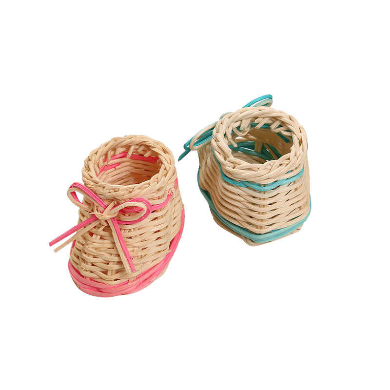 Creative Mini Single Shoes Woven Storage Basket Cute Fashion Plant Desktop Ornaments Makeup Debris Storage Box Home Decoration