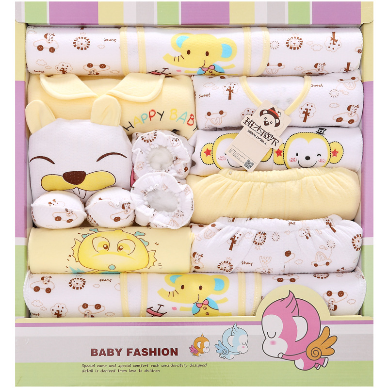 18Pcs/Lot 2017 Newborn Baby Girl Clothes Autumn Flying bear Gift Box Set Thick Cotton Character Baby Boy Clothes 2pcs set baby clothes set boy