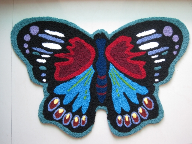 2014 Alfombras Rugs And Carpets Tapetes Special Embroidery Butterfly Shaped Decorative Rugs Skid Pad Stairs Bedside Mats Cushion
