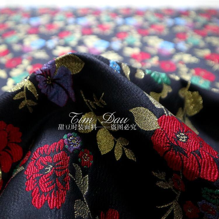 2018 nouvelle haute qualité or pivoine jacquard tissu manteau trench manteau robe marque teint jacquard tissu en gros - 4