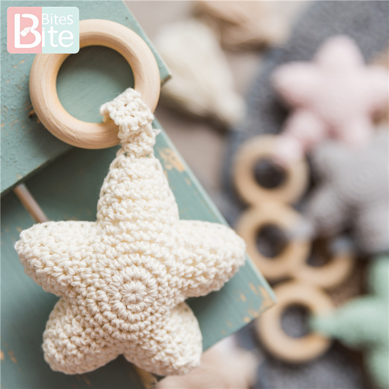 Bite Bites 1PC Amigurumi Star Mobile For Baby Cot Hanging Toys Baby Rattle Toys Funny Educational Toddler Crochet Children's Toy