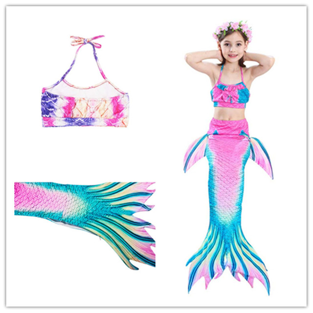 f0798c76d Princess Mermaid Tail Kids Dress 3 piece set,Ariel Children Mermaid Tails  For Girls Swimming Swimsuit Costumes For Birthday Gift