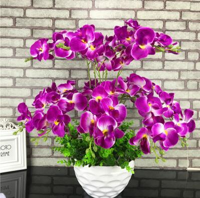 Ornements en pot d'orchidée de papillon de simulation de meubles de salon, ornements, fleurs artificielles en plastique d'intérieur