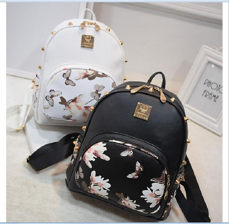 2017 New Fashion Flower Butterfly Print Women's Leather ...