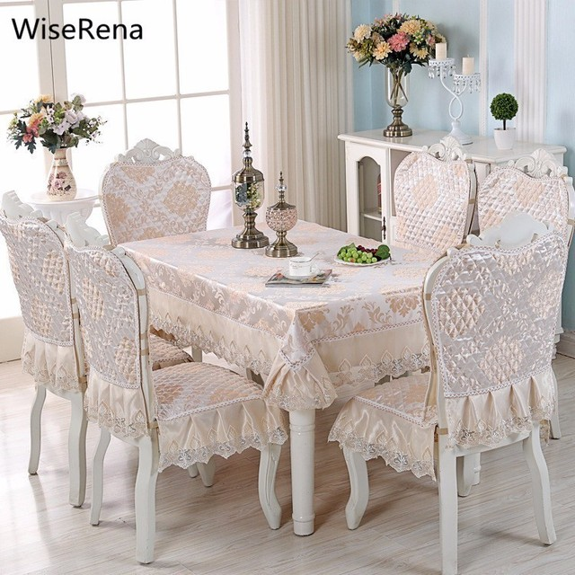 luxury europe table cloth satin floral lace chair seat cover set