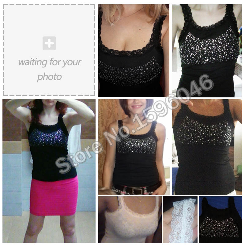 Girl Women s Rhinestone Sequin Lace Tank Top Sling Camisole Cami Vest Slim sleeveless vest casual