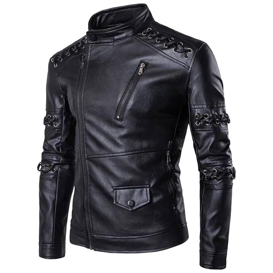 Veste PU hommes veste manteau Biker veste Faux cuir veste hommes décontractée épaisse Zip Up hiver moto manteau