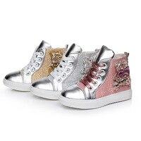 Новая Осенняя детская обувь оптом Корейская мода повседневная обувь для девочек высокие холщовые змеиной детская обувь