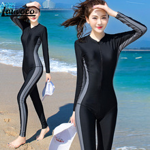 Womens Swimwear Sporting Surfing Suit Female One Piece Swimsuit Long Sleeve Patchwork 3 Colors M-4XL Large Size Swimming Wears цена