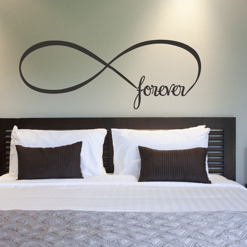 Infinity Symbol Bedroom Wall Decal Forever Bedroom Decor Home Decor Wall Quote Vinyl Stickers ,Free Shipping L2056