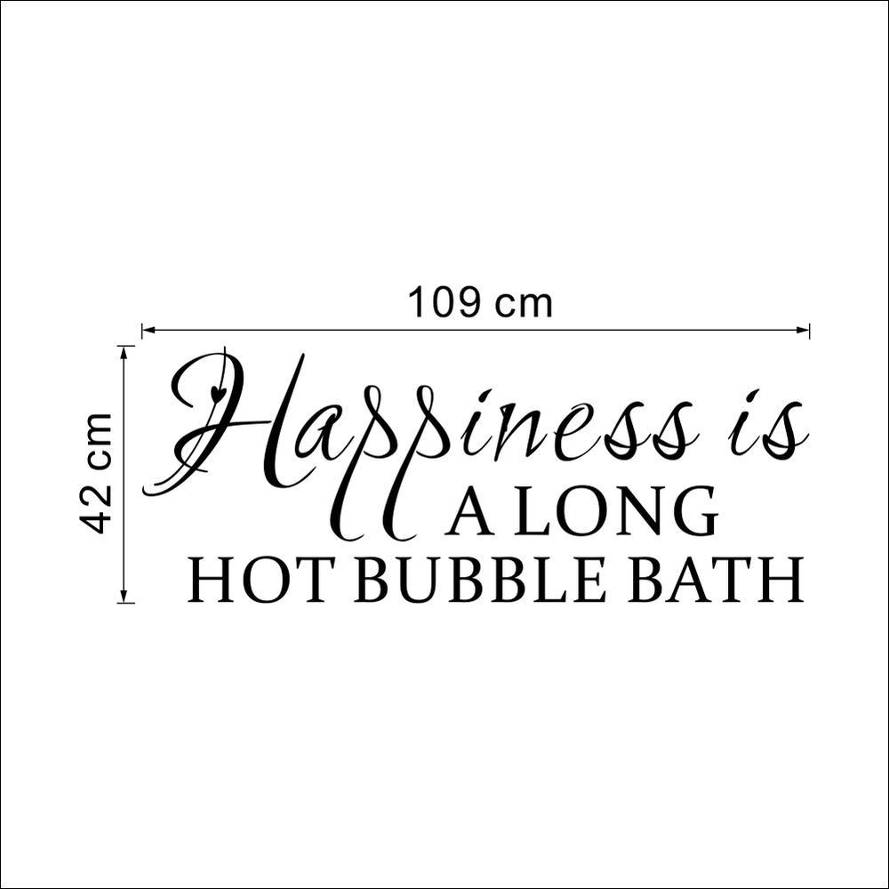 Bath Quotes Enchanting Large Size Happiness Is Along Hot Bubble Bath Quotes Wall Stickers