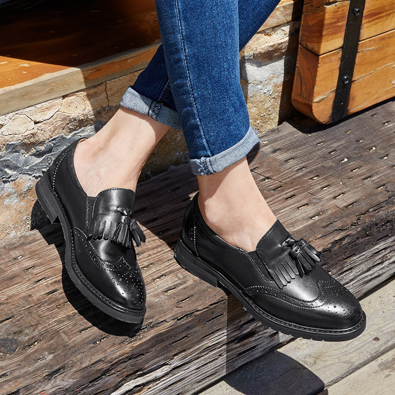 BeauToday Loafers Women Wingtip Brogue Style Genuine Calfskin Leather Handmade Round Toe Slip On Casual Dress Flats 21047