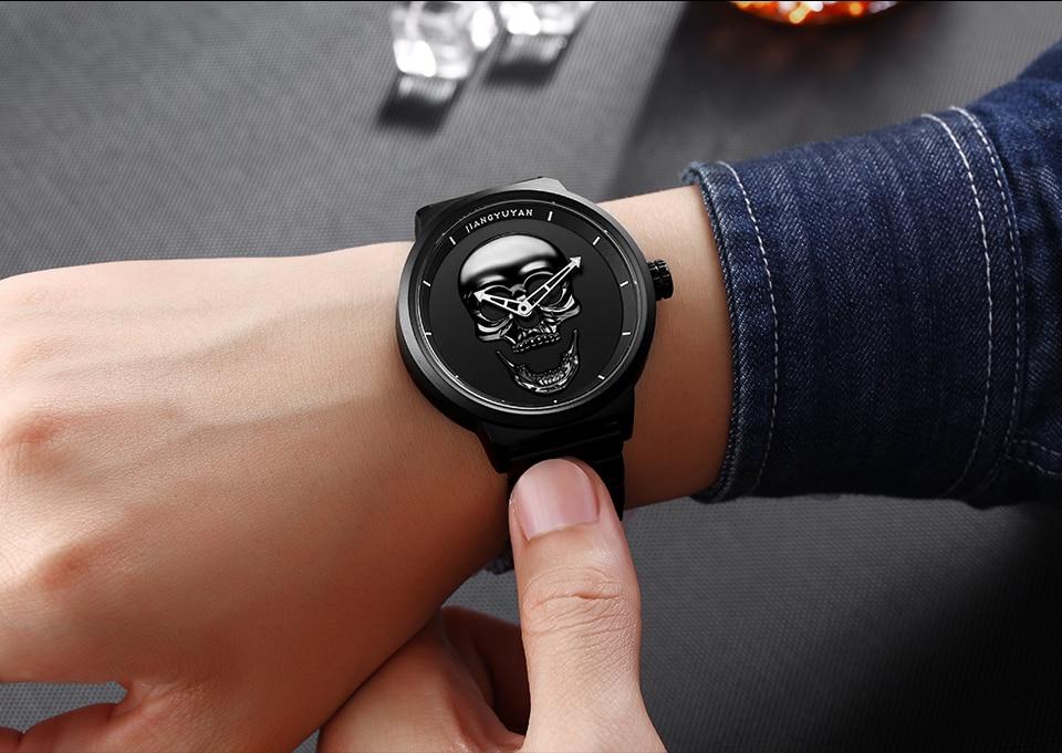 1739-960_12  2018 Scorching Pirate Punk 3D Cranium Males Watch Model Luxurious Metal Quartz Male Watches Retro Trend Gold Black Clock Relogio Masculino HTB1Q1h7d8jTBKNjSZFwq6AG4XXaV