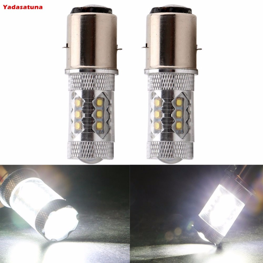 2 Super Bright BA20D H616 H6 Cree Chips 80W LED White Motorcycle Lights Bulb H L