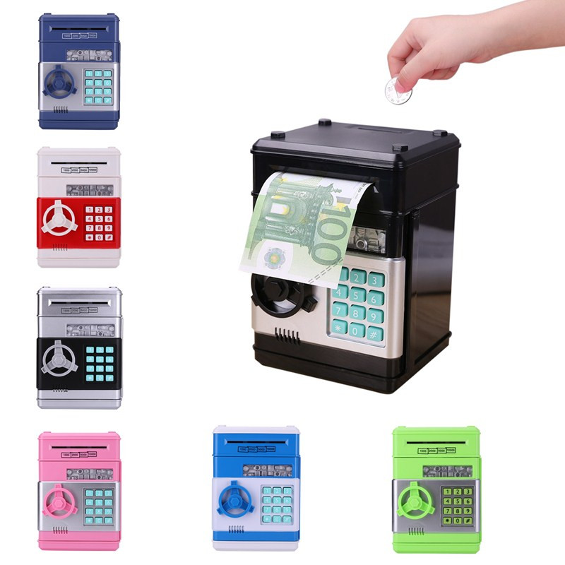 Electronic Piggy Bank Digital ATM Password Automatic Money Box Cash Coin Deposit Banknote Saving Box for Children Kids Gift Toy
