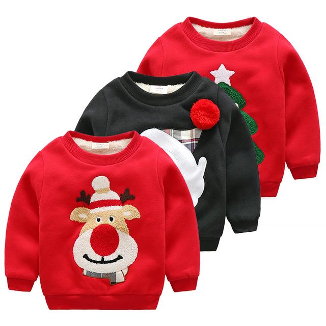 LittleSpring Crianças Hoodies Da Menina do Menino Adorável Chirsmas Impressão Moletom Forro de Algodão Inverno Crianças Hoodies Roupas de Bebê Outerwear