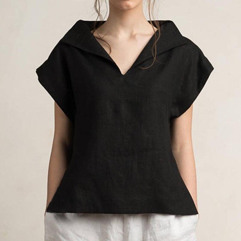 Celmia Women Vintage Linen Tops Plus Size Blouses 19 Summer V Neck Short Sleeve Shirts Casual Tunic Female Blusas Femininas 14