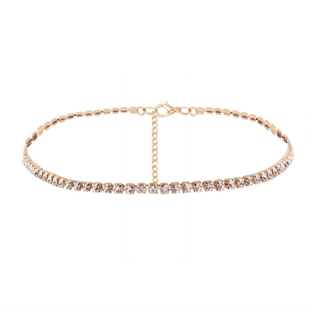 Gold Silver Crystal Sparkly Rhinestone Chocker Wedding Jewellery