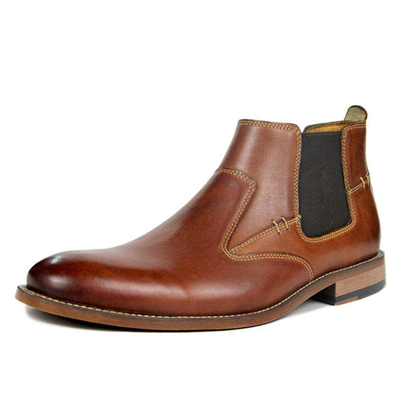 2019 New Men Chelsea Boots Genuine Leather Winter Man Ankle Boots Man Super Large Size 40-50 Shoes Winter Slip-on Male Shoes