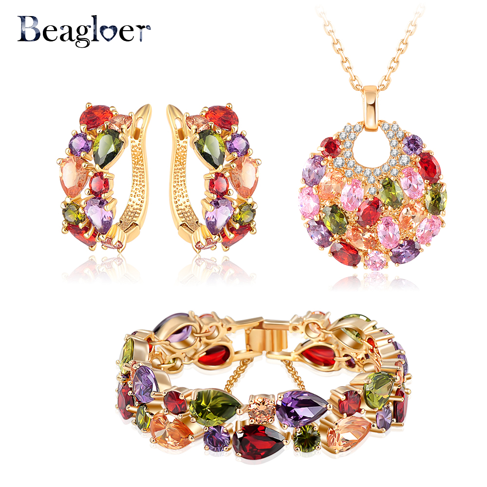 Beagloer Brand Luxury Gold Color Cubic Zircon Earrings/Necklace/Bracelet Fashionable Women Wedding Jewelry Set CST0029-C