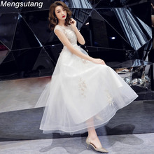 Robe de soiree 2019 New Summer Elegant Charming White lace up O-Neck vestido festa evening dresses Long Party Prom