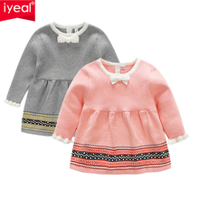 IYEAL Baby Girls Knit Dress Long Sleeve Princess Infant 1 Year Birthday Dresses Fashion Toddler Girl Spring Autumn Clothes