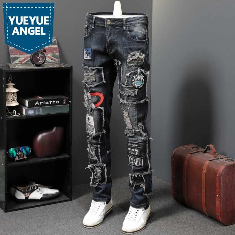 2019 New Designer Men Jeans Famous Brand Luxury Embroidered Jeans Slim Fit Mens Hole Ripped Biker Straight Denim Pencil Pants