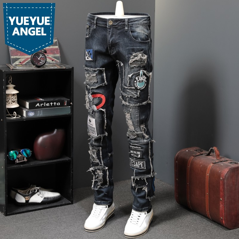 New Designer Men Jeans Famous Brand Luxury Embroidered Jeans Slim Fit Mens Hole Ripped Biker Straight Denim Pencil Pants