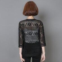 2017 Plus Size Women Clothing 5XL 4XL XXXL Ladies White Lace Blouse Summer Cardigan Coat Black Crochet Sexy Female Blouse Shirt