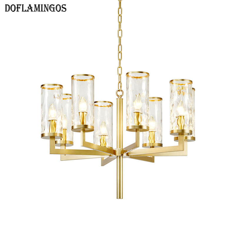 NEW American All copper chandelier Gold 6/8/10 lights Water shade luster LED Lighting Living Room Restaurant lamp