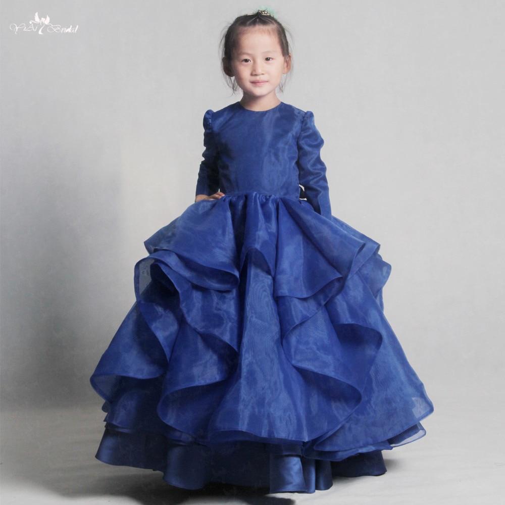 LZC021 Elegant Dark Bule   Flower     Girl     Dress     Girl   Princess Gown Summer Fashion For Wedding Party