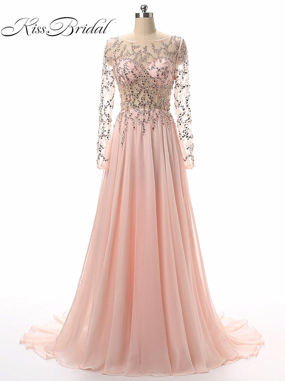 Vestido De Festa A-Line Prom Dresses Long Vestidos De Formatura Illusion Long Sleeves Formal Evening Party Gowns ...