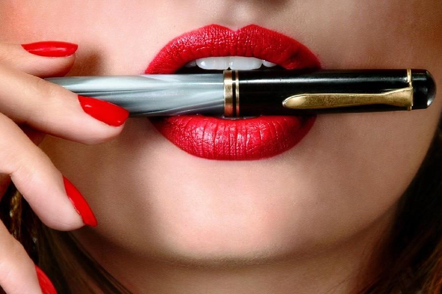 DIY frame hand lips girl pen lipstick nail polish fantasy art Poster ...