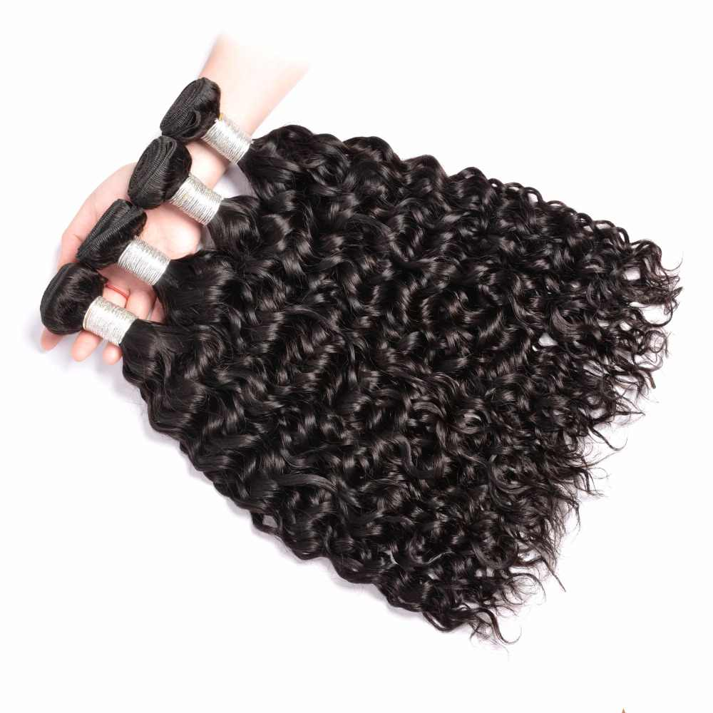 Paquetes de pelo de onda de cuerpo indio 1/3/4 piezas de pelo negro Natural 100% paquetes de cabello humano gema belleza no extensiones de Cabello Remy # 1B