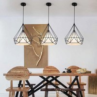 Modern simple Nordic restaurant chandelier iron lamp diamond shape creative personality chandelier
