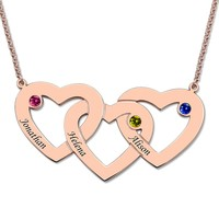 Custom Name Letter Necklace Women Rose Gold Three Intertwined Hearts Birthstones Necklaces 3 Love Heart Pendants Chain Gift Mom