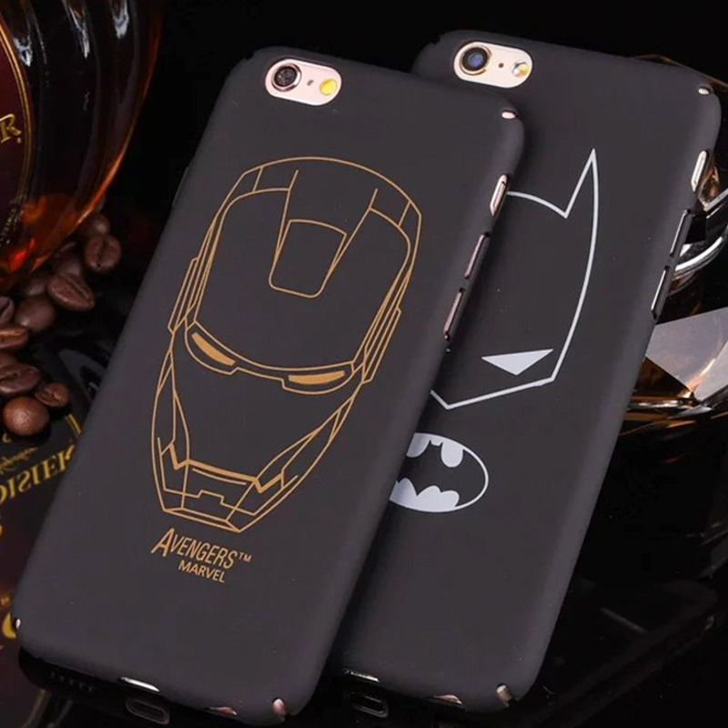 For iPhone 6S 6 7 plus X 8 8 plus Iron Maniron ManUltra-thin full cover Black hard plastic matte batman Phone Case Cover