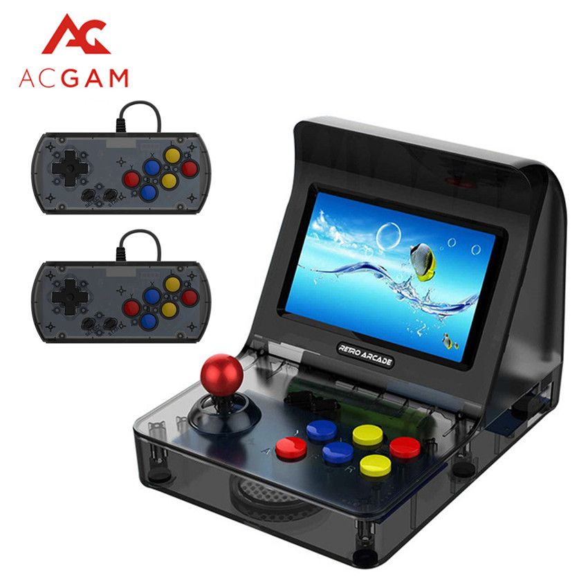 ACGAM A8 Nostalgic Retro Mini Handheld Arcade Game Console 3000 in 1 support GBA/FC/SFC/MD Porting Game Gamer Black 2019