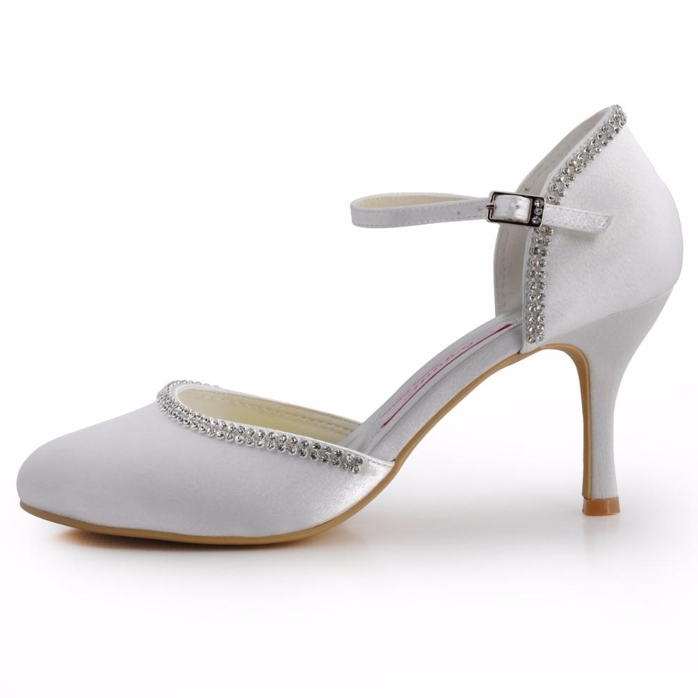 Ivory D'honneur Robe white Satin Hauts Ep11068 Dame De Rond Soirée Demoiselle Mariée Pompes Bout Talons Femme Boucle Bal Chaussures Ivoire Blanc Mariage 1v6R1qZ