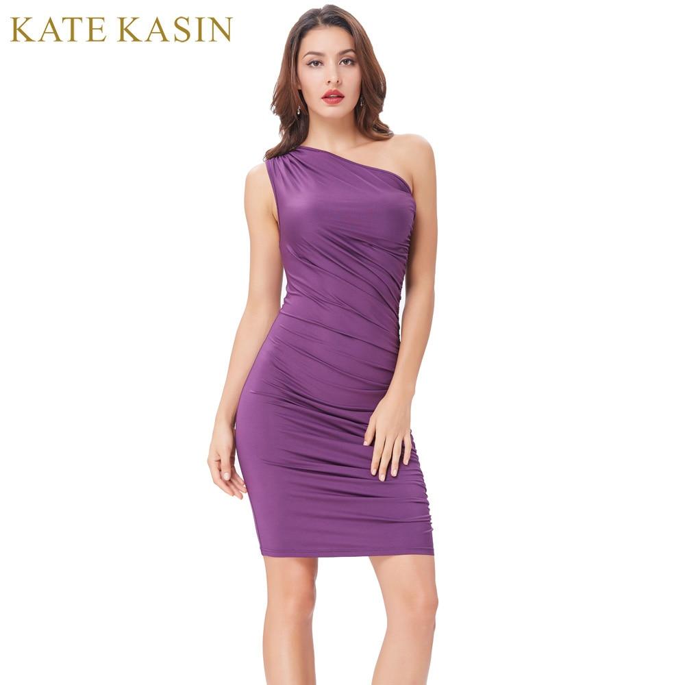 Kate Kasin Purple Short Cocktail Dresses Bodycon S...