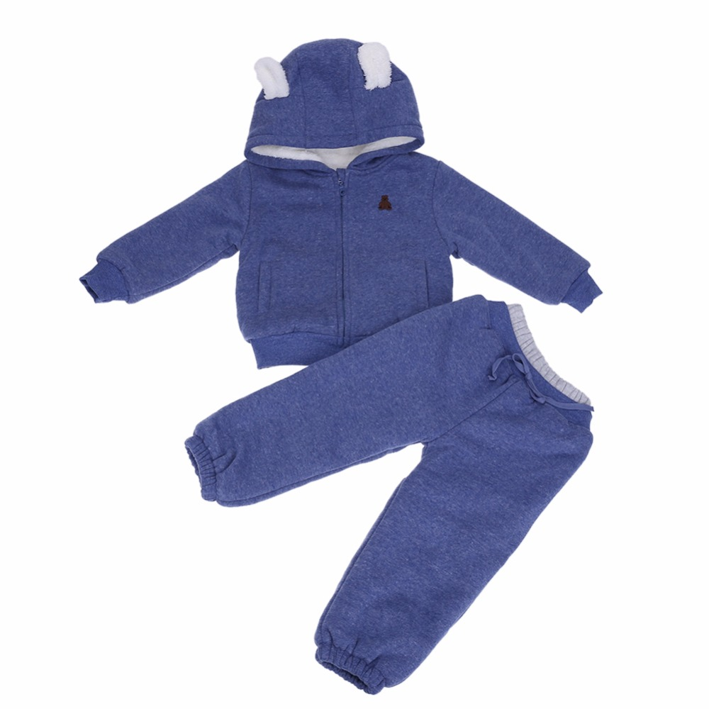 2pcs/Set Baby Clothing Winter Fleece Bear Warm Sports Suit Girls Boys Hoodies Jacket Sweater Coat+Pants Kids Clothes Sets