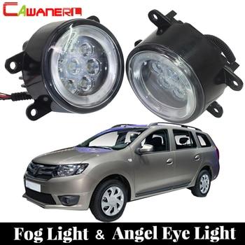 Cawanerl 2 Pieces Car Accessories Fog Light LED Angel Eye Daytime Running Light DRL 12V High Bright For Dacia Logan 2004-2015