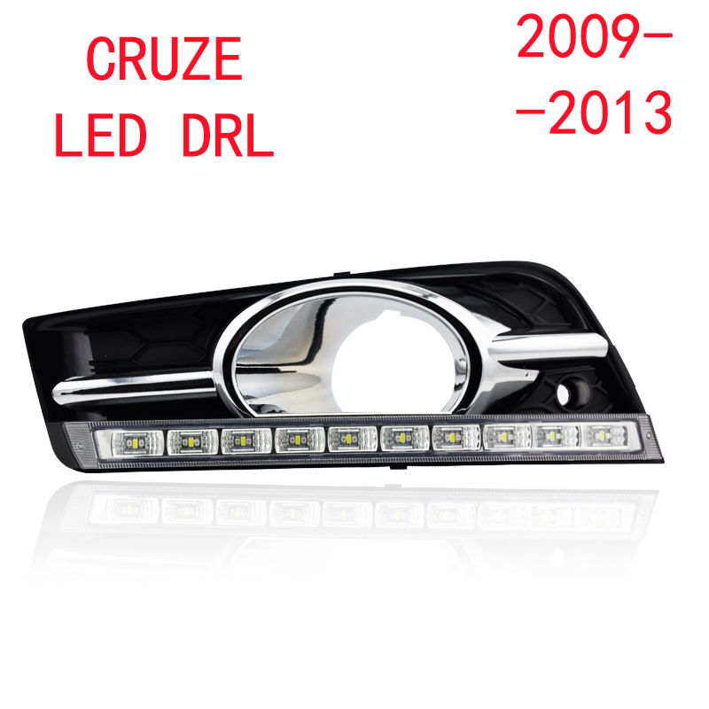 Turn off and dimming style relay LED Car DRL Daytime Running Lights for Chevrolet Cruze 2010 2011 2012 2013 with fog lamp