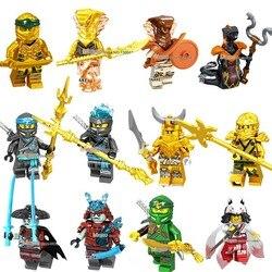 Złoty Ninja Akita Lloyd Jay Zane Nya Kai Wu Cole miecz młotek szkielet broń klocki prezent Ninja węże cegły w Klocki od Zabawki i hobby na
