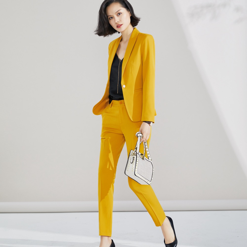 Pant Suit 2019 For Woman S 5XL Plus Size 2 Piece Set Yellow Blazer Jacket Yellow Trousers Costume Blazer Pants Suit Set Ow0518